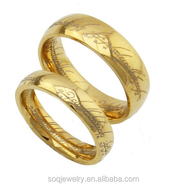 Lord Of The Rings with Golden Stainless Steel Wedding Band Ring for Lovers Fashion Jewelry