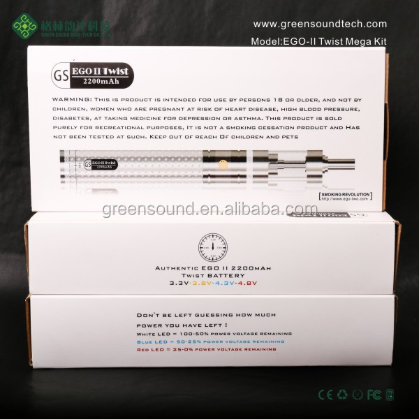 Adjustable Voltage Ego Battery Vaporizer GS 2200mah Twist EGO II V-core III MEGA KIT china wholesale e cigarette