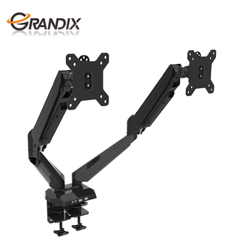 Dual Monitor Desk Stand LCD Mount, Adjustable, Free Standing Two Computer LED Displays Stand