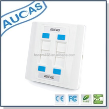 amp network rj45 UK US style dual port faceplate /systimax wall fiber optic plate socket