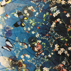 Popular Thai flowing digital printed pure silk crepe fabric