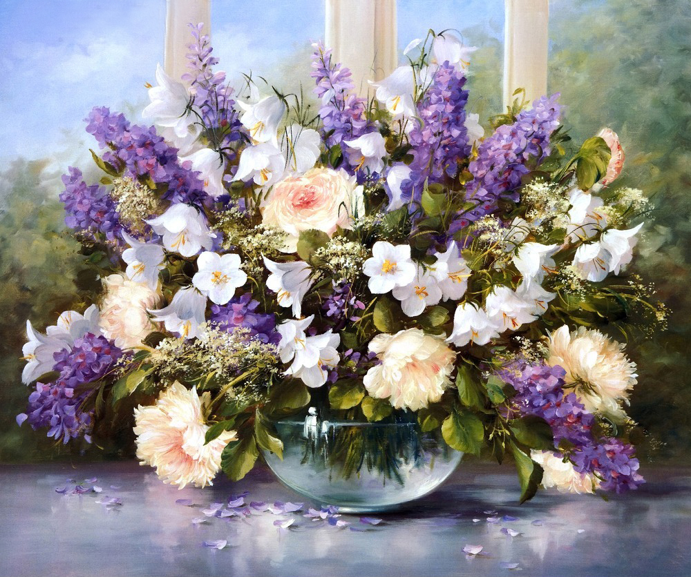GZ262- 40*50 glass painting pictures of flowers full diy diamond painting