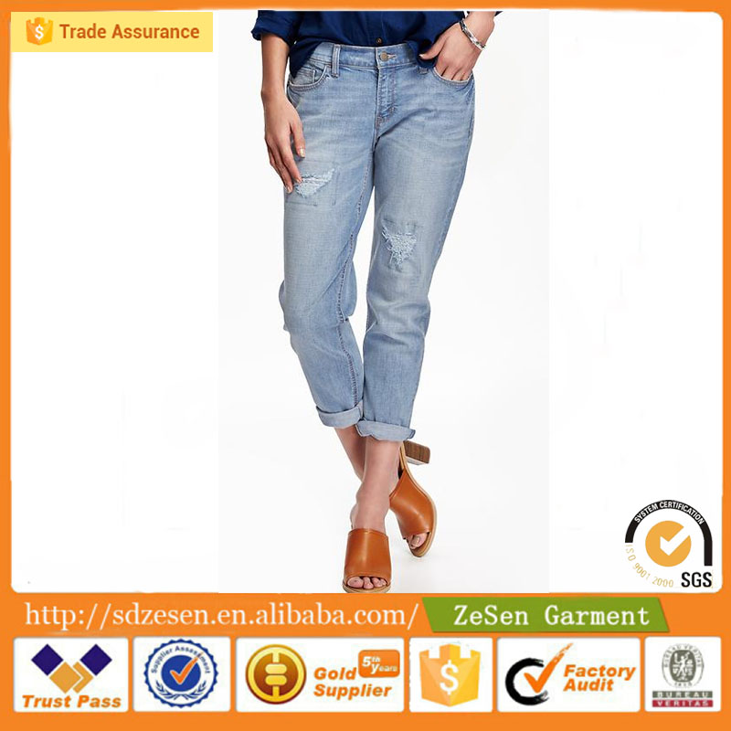 OEM Fashion Style Grey Stretch Brushed Cotton Jeans Wholesale For Women