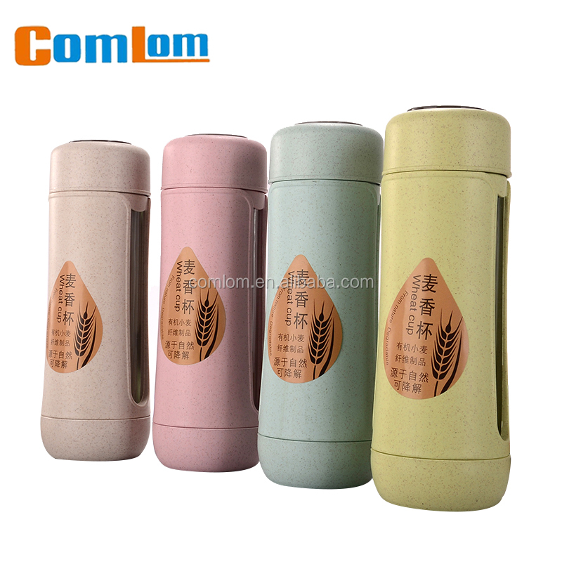 CL1C-GA805 Wheat Comlom Natural Wheat Straw Water Bottle Glass Bottle