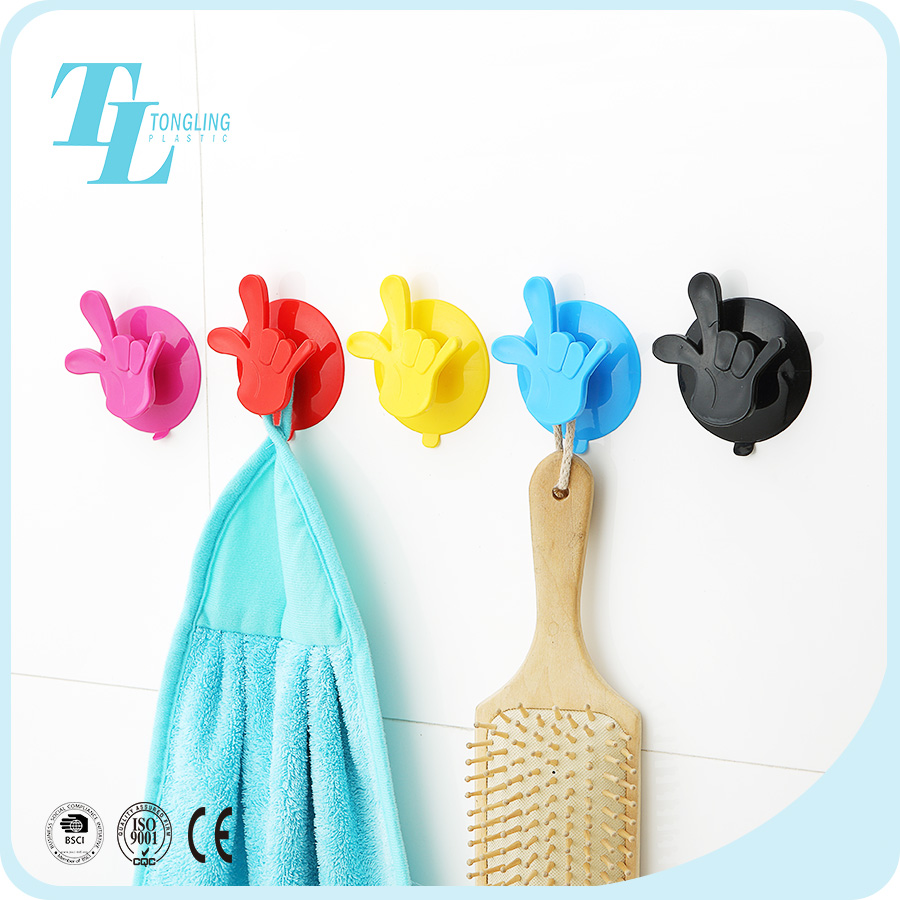 Popular wall door self adhesive bath plastic hand hanging hook for glass