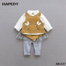 Baby Girl Knit Vest Long Sleeve Shirt Lace Skirt Pants 3 Piece Suits