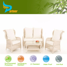 White World Source International Patio Furniture Wicker Formal Dining Room Sofa Set