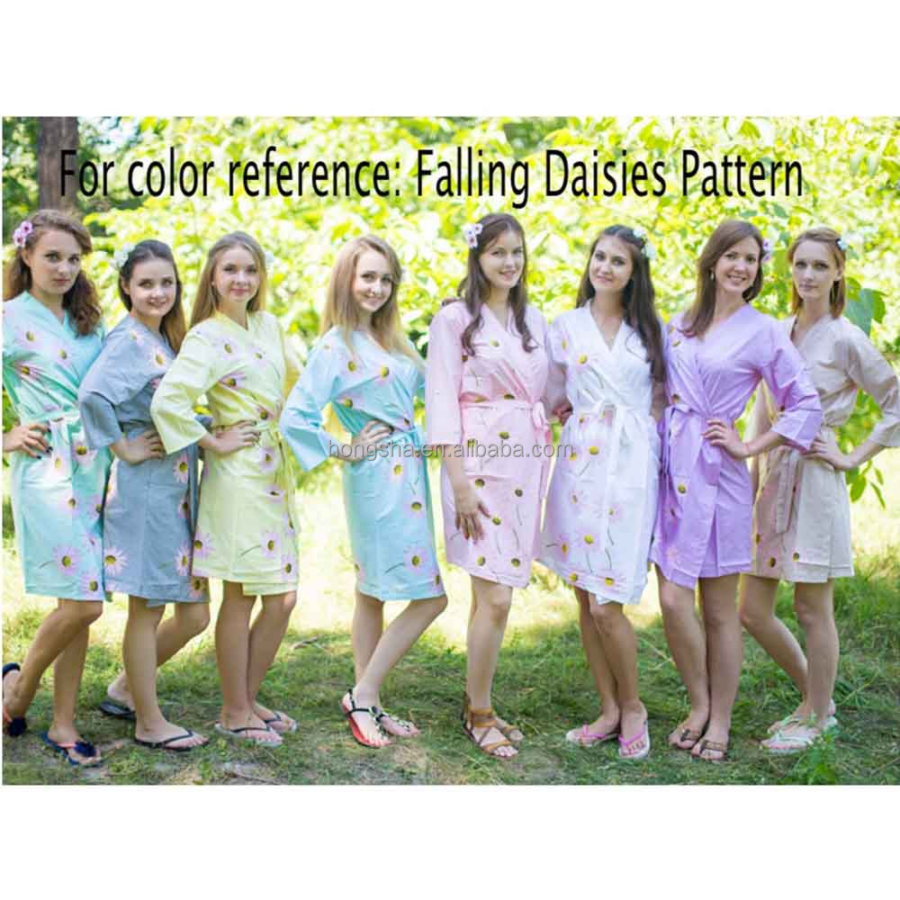2016 Stylish Woman Robe Daisies Pattern Bridesmaids Robes Floral Cotton Robes HSD9278