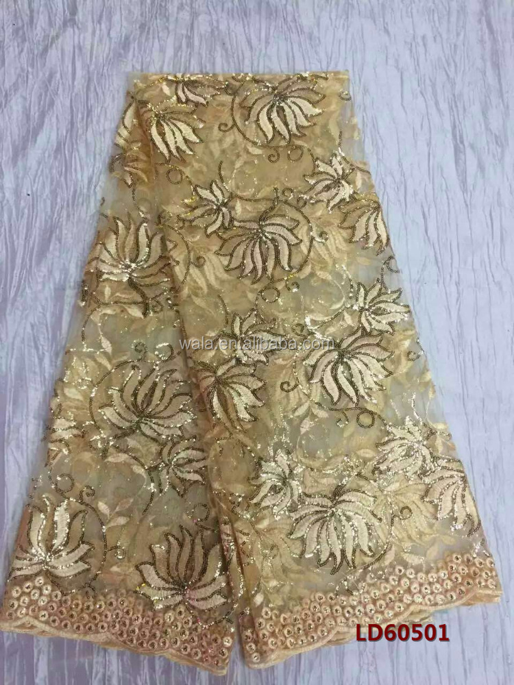 LD60501 (7) - gold embroidered flower design handcut french tulle lace with sequins for party dress