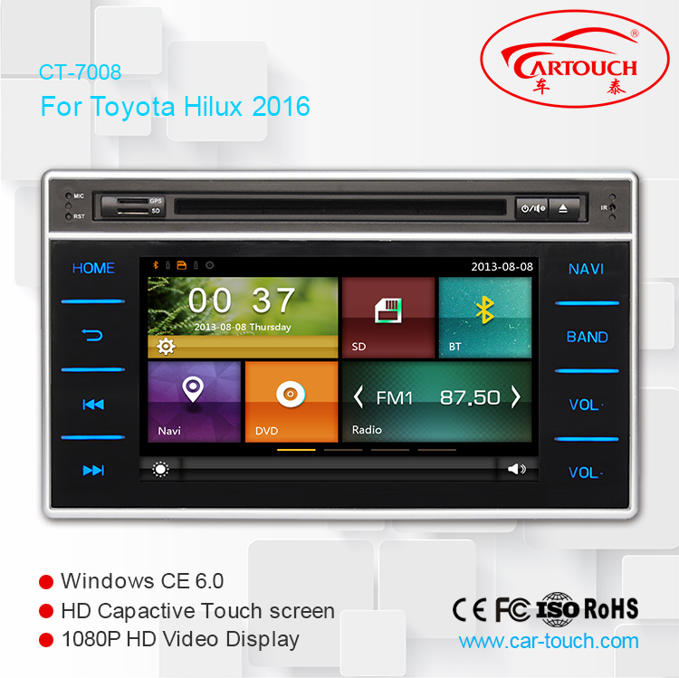 car radio for Toyota Hilux car radio dvd gps navigation built in bluetooth phonebook swc rds