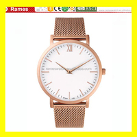 OEM Men 5 atm Water Resistant Stainless Steel Mesh Band Minimalist Rose Gold Watch