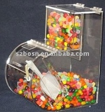 Round Face Acrylic Candy Bin with a False Front