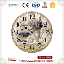 Nice lavenders and coffee pattern mdf material clock hotel lobby wall decoration