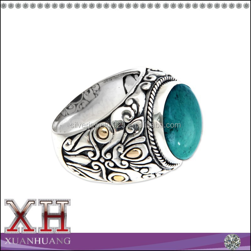 China Alibaba Wholesale Sterling Silver Turquoise Men's Ring (Indonesia)