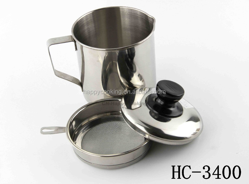 Best sell in US Oil Pot Stainless Steel Oil Colander Oil Mug With Filter