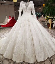 Sexy Deep V Neck Long Sleeve Backless Jacquard Pleated Puffy Skirt Beaded Wedding Dress Bridal Gown With Long Train