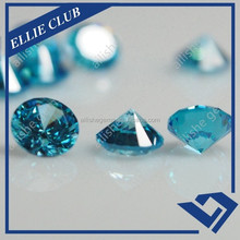 High quality round diamond cutting blue topaz cz gemstone