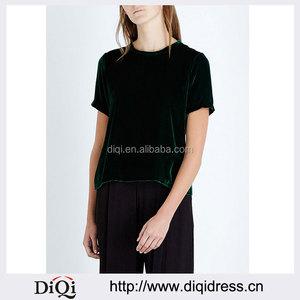 5edd022bea4 Wholesale Women Latest Simple Design Black Round Neck Short Sleeves  Back-split Velvet Blouse(