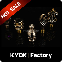 KYOK Luxurious metal curtain rod finial ,wrought iron bracket,double curtain pole accessories wholesale
