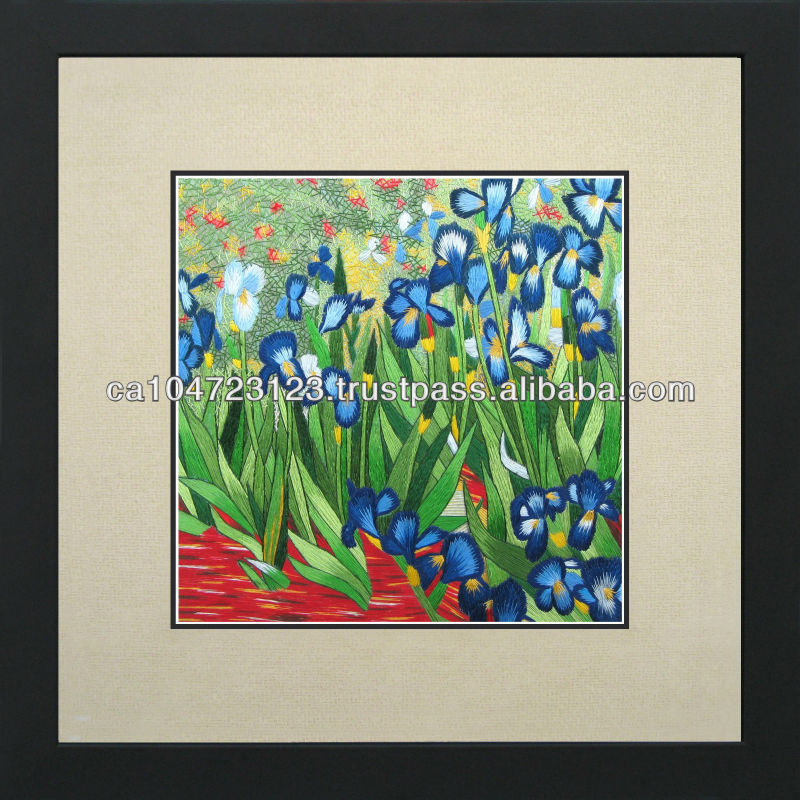 36053-Irises-Van Gogh--Susho, King Silk Art 100% Handmade Silk Embroidery