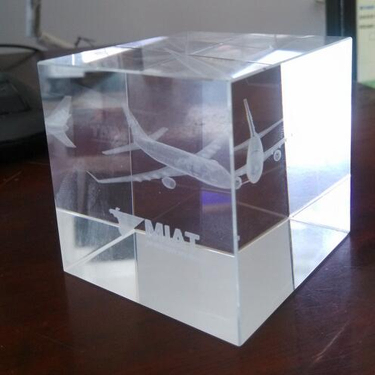 Wholesale airplane design 3d crystal laser engraving gifts business souvenir