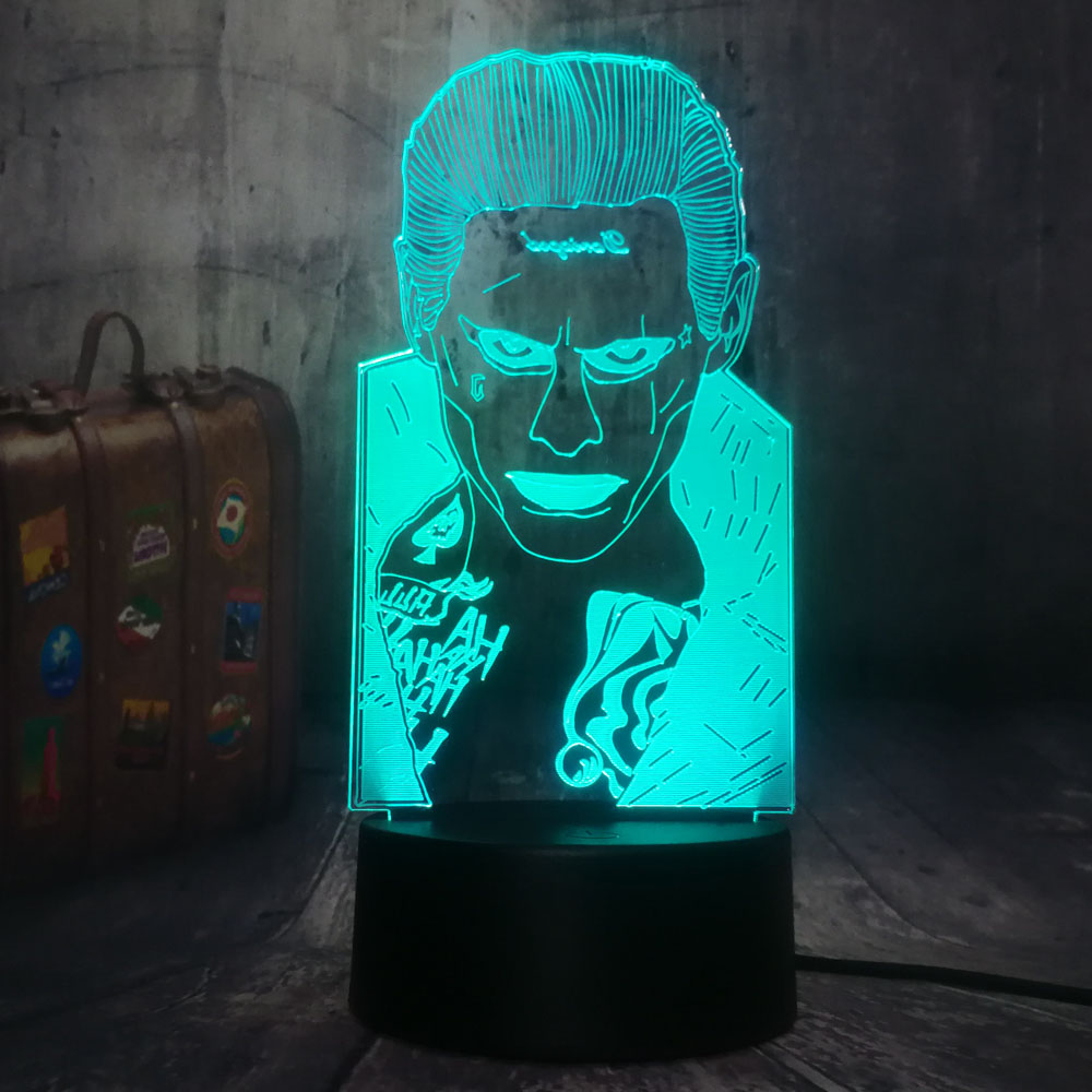 Novelty Kids New Year Gift Toy Home Decor Unique Design DC Joker Mr.<strong>J</strong> Injustice League Desk Lamp 7 Colors RGB 3D LED Night Light