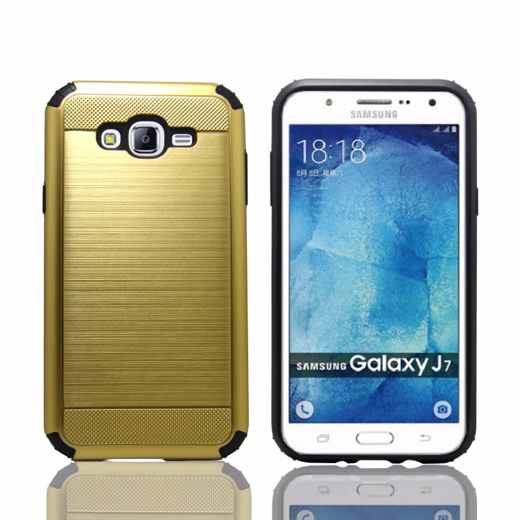 Anti shock wiredrawing phone case for samsung galaxy J7