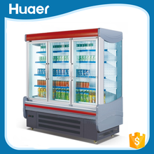 Supermarket Air Curtain Multideck Open Chiller With Glass Door for Beverage And Fruit Display