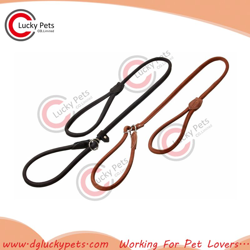 Soft and Adjustable Leather Rope Slip Dog Training leash with collar