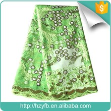 Lemon green newest sequin tull lace rhinestones embellished soft net fabric for clothing