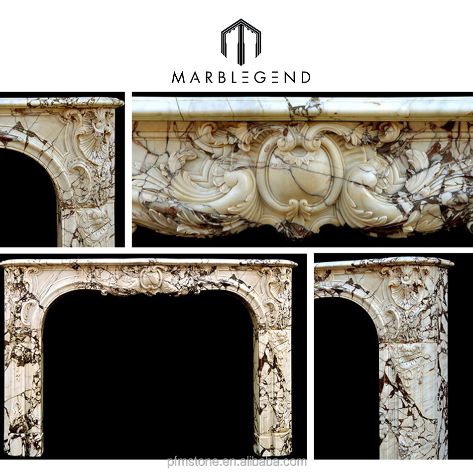White marble carved fireplace decoration
