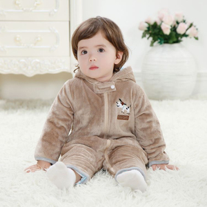 Hooded baby climb clothes coral fleece velvet baby winter romper