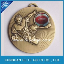 plated antique bronze metal football medal sport,custom soccer medal for match