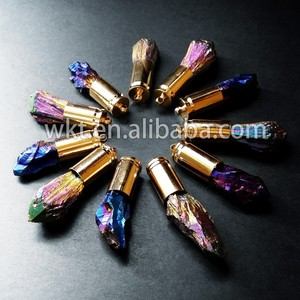 New!! Rainbow blue electroplated crystal quartz pendants with gold cap on top WT-P235