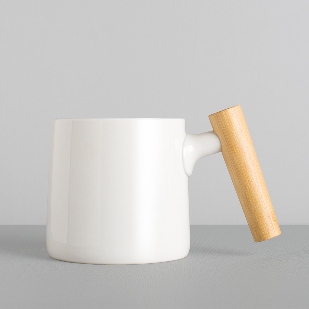 New Design Porcelain Cup With Unique Wooden Handle,Matte Black