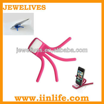 Best-selling foldable silicone embossed rubber phone stand holder