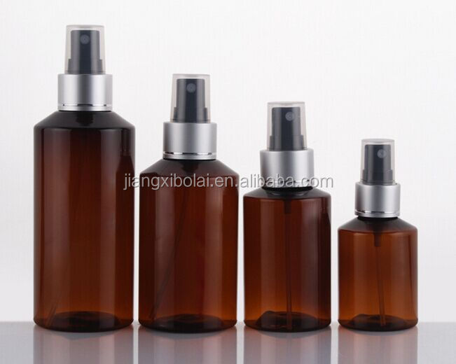New design 50ml PET Amber bottle empty lotion plastic spray bottle with pump Cap