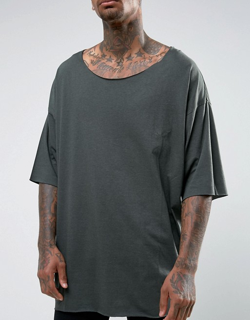 clothes manufactuer custom oversized t-shirt scoop neck and raw hem t shirt for men off the shoulder t-shirt wholesale