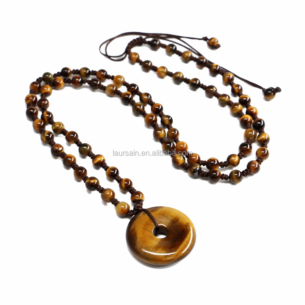 LS-D7373 Wholesale tiger eye buckle jade pendant necklace, handmade knot necklace