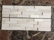 Straight edge white marble product with wood veins culture slate