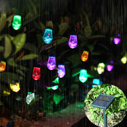 7 Color Changing 5.3M 12pcs RGB Bulbs Solar Powered LED Fairy Drop Water String Lights Decorate Rope Light