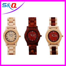 Top quality Auto date men wood wirstwatch with Japan 2035 quartz movement