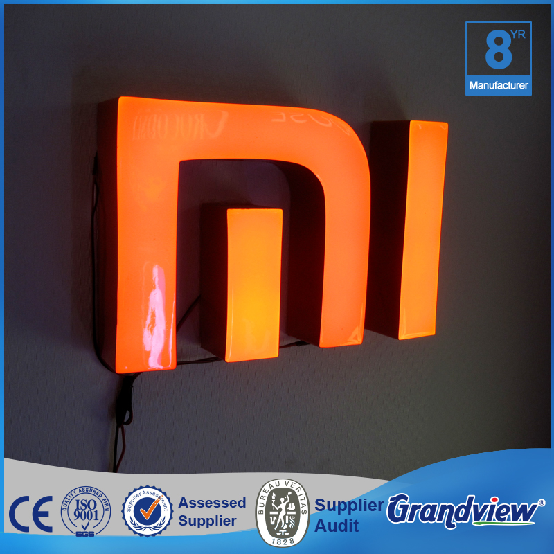 Custom outdoor epoxy resin 3D frontlit led channel metal letter logo