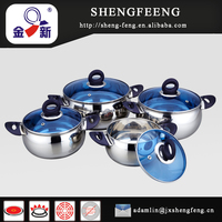 4pcs SS201 fashional stainless steel cookware pot/hot selling casserole set/Blue glass lid