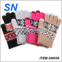 high quality 100%cashmere warm smartphone touch screen gloves