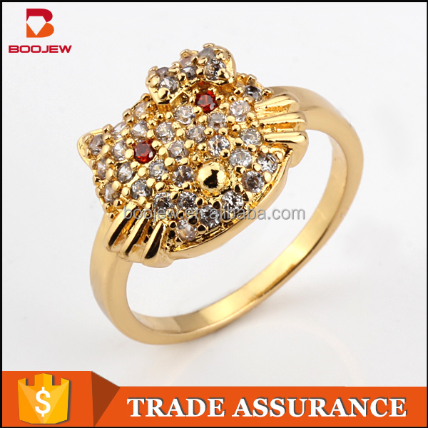 Gold covering fashion jewellery copper brass finger Crystal Cubic zirconia animal rings