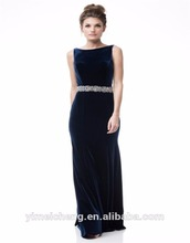 Blackless navy velvet ladies long evening party wear dress mature woman dinner gown