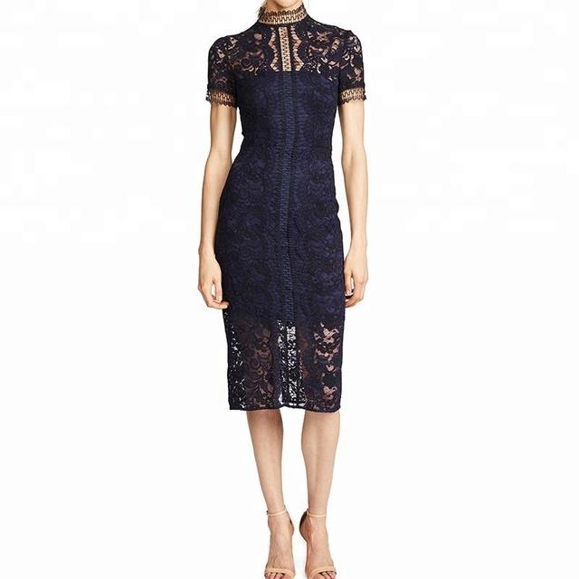 High neck short sleeves summer woman petite lace mini dress hot sale new design