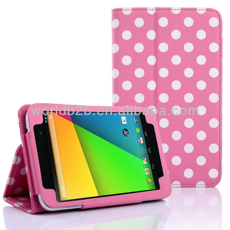New Colorful Polka Dots Leather Case with Hard Cover for Google Nexus 7 2nd Gen
