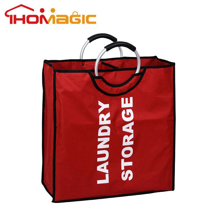 Top level high quality canvas laundry bag with metal handle